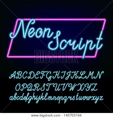 Neon tube alphabet font. Hand drawn script type letters and numbers on a dark background. Vector typeface for labels, titles, posters etc.
