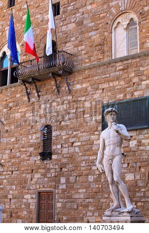 View of the David of Michelangelo in Florence Tuscany. Italy