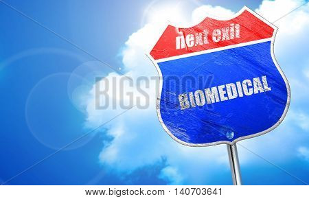 biomedical, 3D rendering, blue street sign