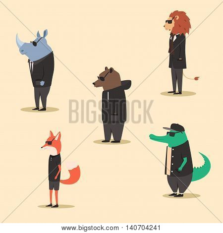 Group of animals in clothes. Casual style. Cartoon vector illustration. Anthropomorphism. Wildlife. Set of bright african animals.