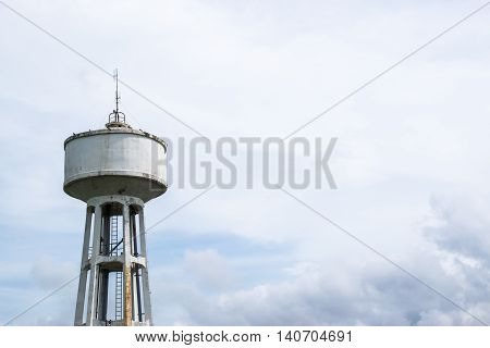 Water Tank Tower with cloud storm,abandon water tank tower