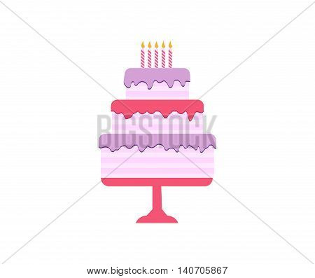 Cakes set. Vector cake icon design element. Birthday cake isolated illustration. wedding cake on white background