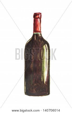 Isolated watercolor wine bottle on white background. Unlabeled bottle of alcohol is symbol of elegance, party or holiday relaxing.