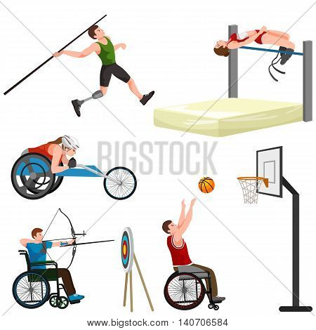 sport for people with prosthesis, physical activity and competition for invalid, disabled athletic game isolated concept vector illustration