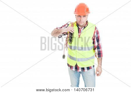 Male Electrician Constructor Holding Extension Cord On Shoulder