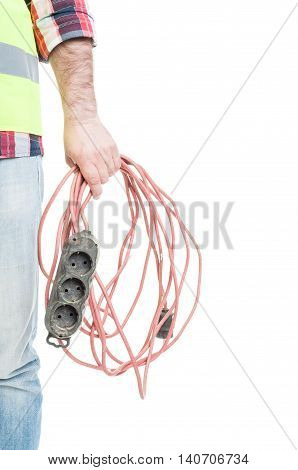 Closeup Hand Of Electrician Builder Holding Extension Cord