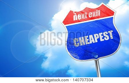 cheapest, 3D rendering, blue street sign