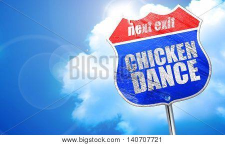 chicken dance, 3D rendering, blue street sign