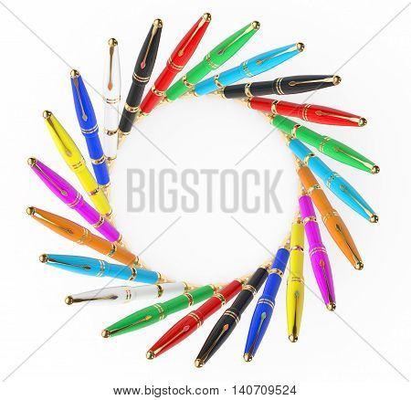 Multicoloured Fountain Writing Pens on a white background. 3d Rendering
