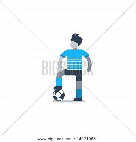 Soccer player, football defender, forward, midfielder. Flat design vector illustration, isolated on white