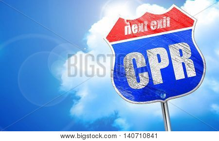 cpr, 3D rendering, blue street sign