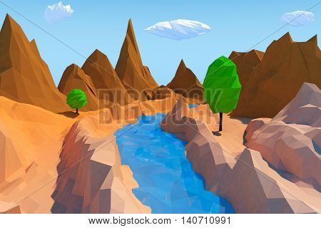 Trendy Low Polygons Style Landscape extreme closeup. 3d Rendering