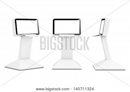 Computer Information LCD Display Stands on a white background. 3d Rendering