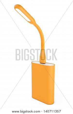 Orange Led USB Lamp with Powerbank on a white background. 3d Rendering