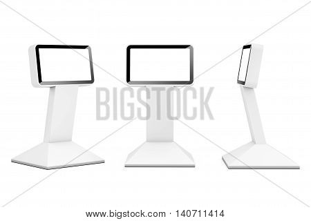 Information LCD Display Stands on a white background. 3d Rendering