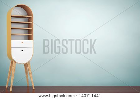 Old Style Photo. Vintage Wooden Kitchen Cabinet on the wooden floor. 3d Rendering