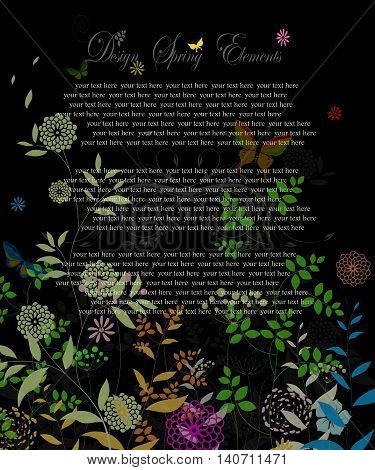 invitation card with floral on black background