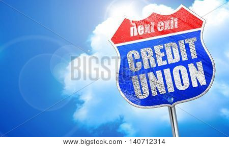 credit union, 3D rendering, blue street sign