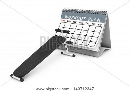 Exercise bench. Gym Equipment in front of Workout Plan Calendar on a white background. 3d Rendering