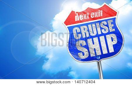 cruiseship, 3D rendering, blue street sign