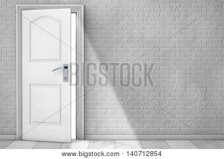 White Wooden Door in front of Brick Wall. 3d Rendering