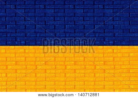 Illustration of the national flag the Ukraine with a graffiti style on a wall background