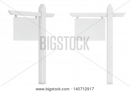 Real Estate House for Sale Blank Signs on a white background. 3d Rendering