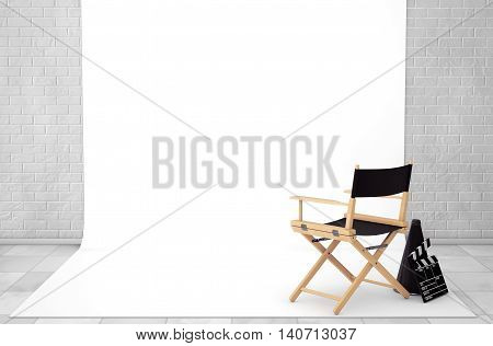 Director Chair Movie Clapper and Megaphone in Cinema Studio Room extreme closeup. 3d Rendering