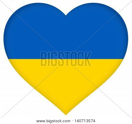 Illustration of the flag of the Ukraine shaped like a heart