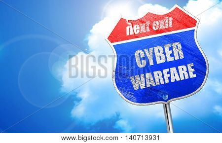 Cyber warfare background, 3D rendering, blue street sign