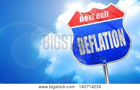 Deflation sign background, 3D rendering, blue street sign