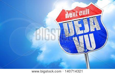deja vu, 3D rendering, blue street sign