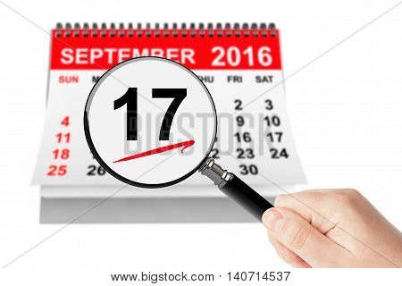 Constitution Day Concept. 17 september 2016 calendar with magnifier on a white background