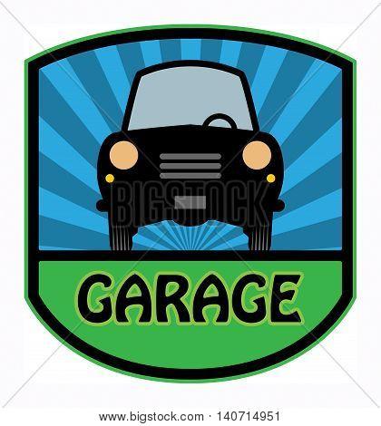 Car garage label or sign, vector illustration