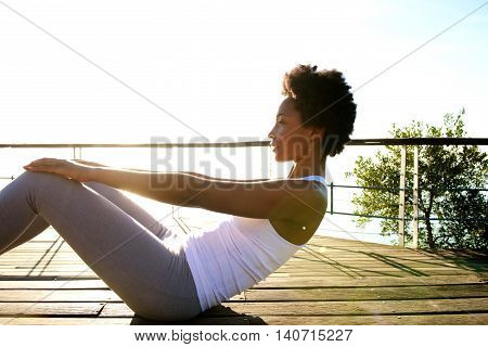 Healthy Young Woman Doing Abs Crunches