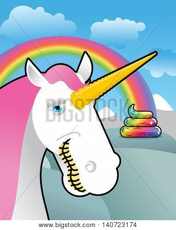 Unicorn On Landscape. Turd Unicorn. Rainbow Of Shit. Clouds And Sky. Magic Animal Laughs. Laughter M