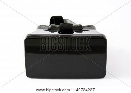 VR. Black virtual reality headset isolated on white background