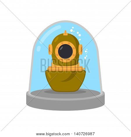 Ancient Diving Suit In Glass Bell. Underwater Suit In Laboratory Flask. Study Research Relics