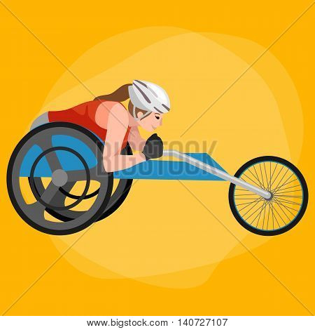 Disabled Athlete On Wheelchair Play Boccia Sport Competition Vector Illustration