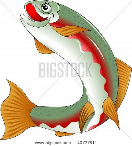 beautiful salmon fish swims the sea vector and illustration