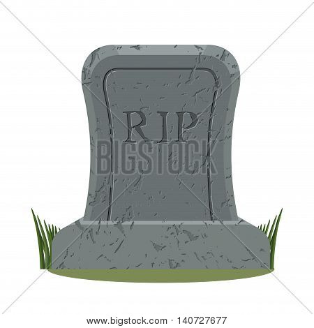 Ancient Rip. Grave Isolated. Old Gravestone With Cracks. Tomb On White Background. Granite Plate Wit