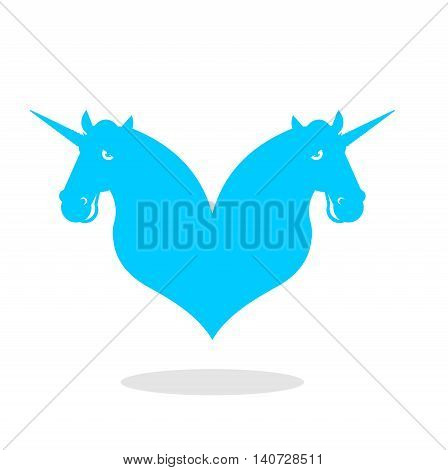 Unicorn Love Logo. Lgbt Symbol Community. Sign Of Love And Two Magic Animals. Heart And Magical Beas