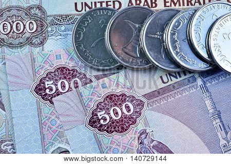 Close up Dirhams currency, United Arab Emirates