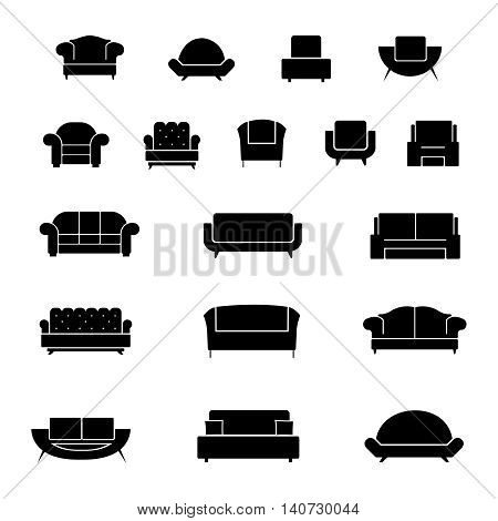 Couch and armchair furniture, chairs and sofa interior elements. Vector illustration