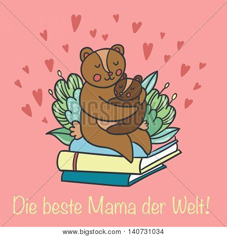 Postcard with cute bears and german text