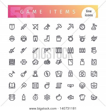 Set of 56 game items line icons suitable for gui, inventory, resurses in apps. Isolated on white background. Clipping paths included.