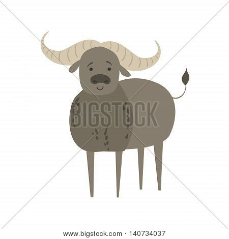 Zebu Bull Stylized Childish Drawing Isolated On White Background. Primitive Cartoon Style Illustration For Children In Flat Vector Design.