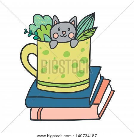 Vector postcard with adorable kitten, books and plants