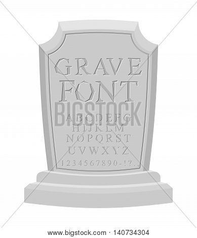 Gave Font. Ancient Carved On Tombstone Of Abc. Tomb Of Alphabet. Set Of Letters To Write On Gravesto