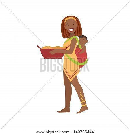 Woman With The Baby On The Back From African Native Tribe Simplified Cartoon Style Flat Vector Illustration Isolated On White Background